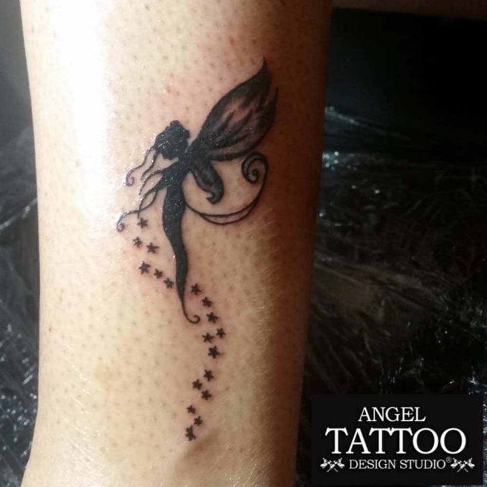66296ae88fcea angel tattoo design, angel tattoo on ankle with stars