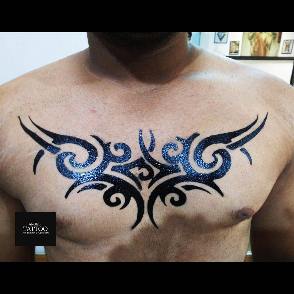 tribal temporary tattoo on chest