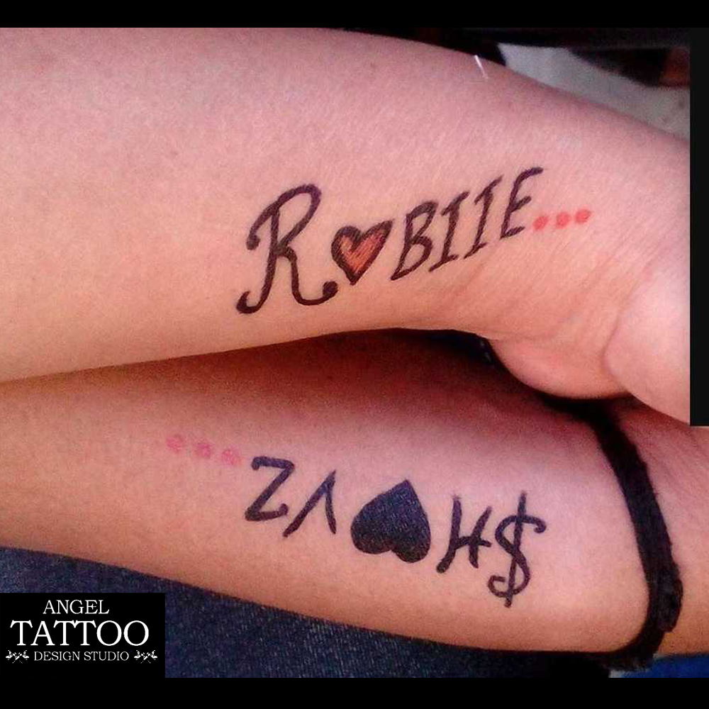 couple name tattoo in temporary
