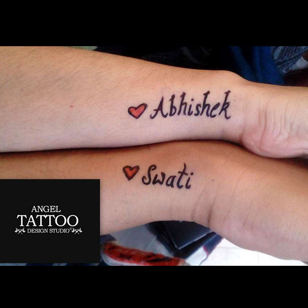 couple temporary tattoo for event