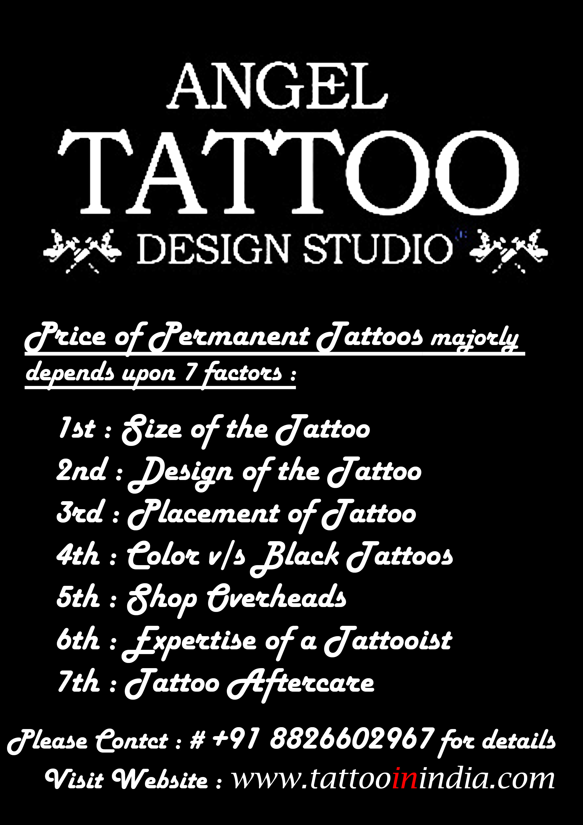 Cost Of Permanent Tattoo In Black Color Price Of Getting Permanent Tattoo Small Big Size
